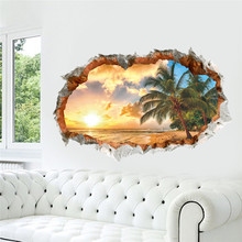 Buy sunshine sea beach sun tree pvc 3Dremovable wall window view Landscape decoration home decorative wall stickers for $3.75 in AliExpress store