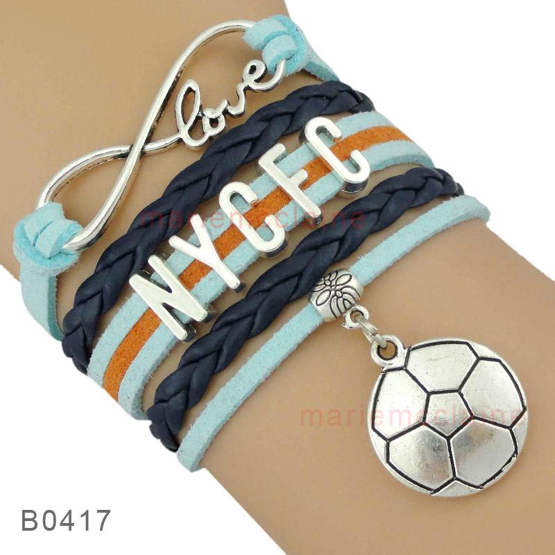 (30 PCS/lot) Infinity Love Major League Soccer New York City Football Club Soccer Bracelets Jewelry Drop Shipping(China (Mainland))