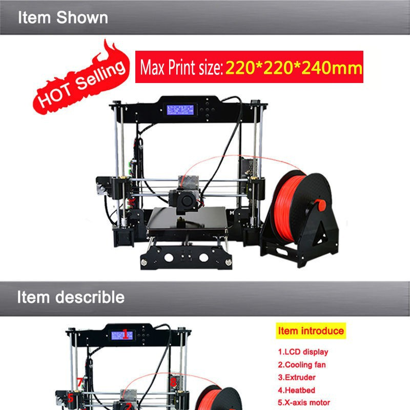 Big size 220*220*240mm High Quality Precision Reprap Prusa i3 3d Printer DIY kit with 2 Roll Filament 8GB SD card and LCD