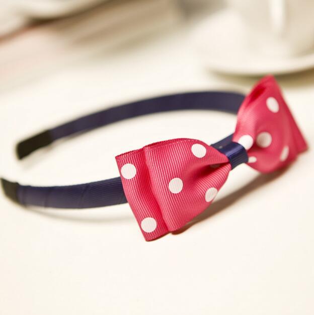 Free Shipping Wholesale 150pcs White Polka Dot Bow Headband - Girls Headband / Bows / Alice Band(China (Mainland))
