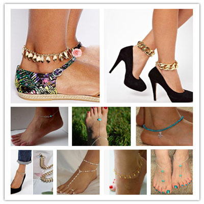 Hot 2015 Fashion Summer Jewelry Simple Small Barefoot Jewelry Ankle Crystal Bracelets Gold Silver For Women(China (Mainland))
