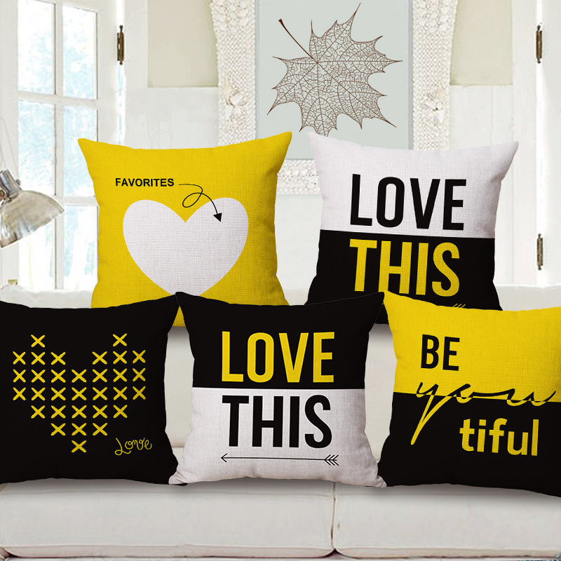 Yellow Love Throw Pillow : Aliexpress.com : Buy Fashion High Quality Couple LOVE Yellow Geometric Simplicity Car Decorative ...