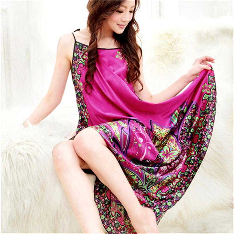Sexy Pajamas Women Imitated Silk Sleepwear Robes Dress Night Skirt Nighty Nightgowns Hot Color Rose Red Yellow