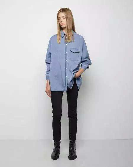 Acne Studios Hot Sale Fashion Spring Autumn New batwing Sleeve Blue Silk Denim Blouse Shirt Turn Down collar with chest PocketОдежда и ак�е��уары<br><br><br>Aliexpress