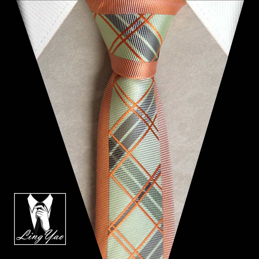 New arrival stylish slim tie mens causal necktie orange with green fashion plaids font b chequer