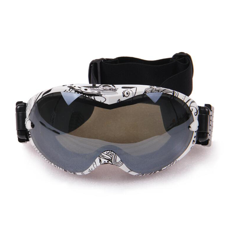 High Quality Ski Motorcycle Racing Goggles Eyewear Dual Lens Silvering Frame Scrawl Design(China (Mainland))