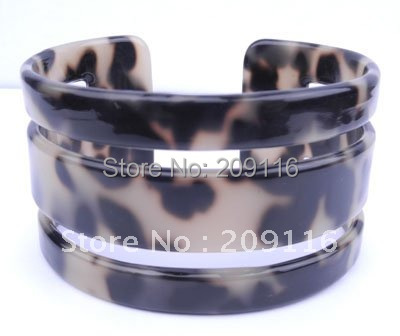 Handmade Green France Cellulose Acetate Tortoise Shell Bangles extract from cotton Leopard Pattern