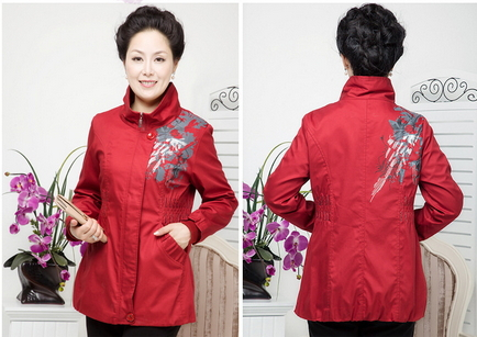 Middle-Aged Mom 'S Clothes Spring Fashion Cultivating Cotton Long-Sleeved Jacket Printing Waist Bandage Modified XL-4XL(China (Mainland))