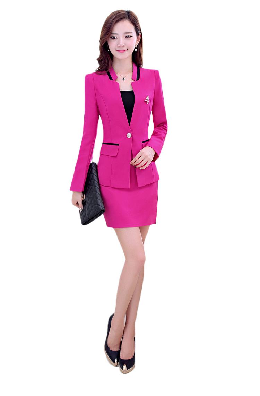 Luxury Elegant 2014 Autumn Women Business Skirt Suits Plus Size Formal Female