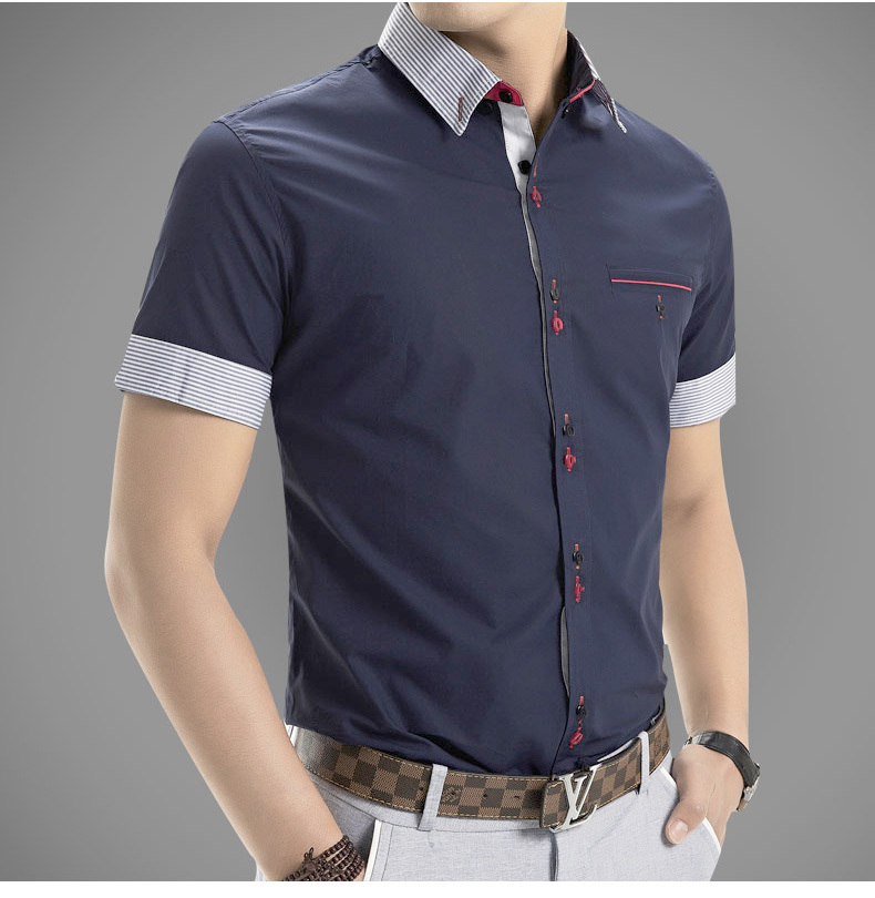 2015 New Mens Shirts Fashion Men s Dress Shirts Men Casual Slim Fit Stylish Short Sleeve