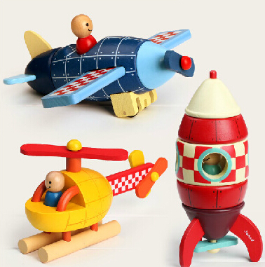 Free shipping one piece,traffic tools Wooden DIY Assembled Rockets/ aircraft/helicopters toys for childrenscale models(China (Mainland))