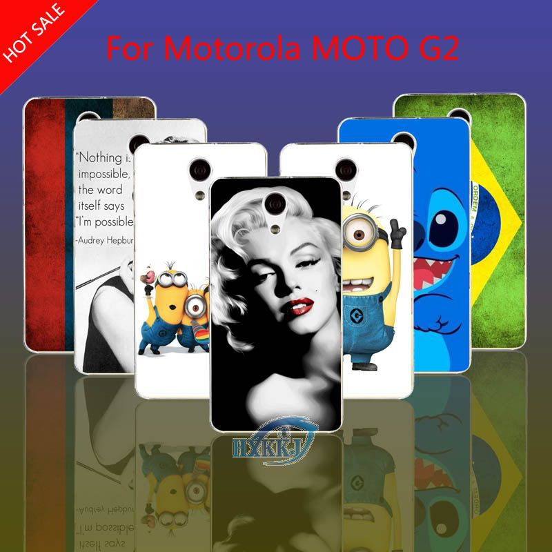 Case For Motorola MOTO G2 Russia Brazil Flag Despicable Me Girl Love Cartoon Coffee Marilyn Audrey Hepburn Hard Cell Phone Case(China (Mainland))