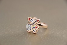 Wholesale Color the bear and Rhine stone ring Charm Cute Girls Ring Kids Jewelry Titanium Accessory