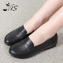 New Promotion Woman Spring Summer Soft Leather Shoe Women Mujer Zapatos Fashion Casual Slip-on Antiskid Flat Shoe For Mom Gift(China (Mainland))
