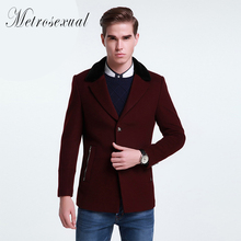 Mens Trench Coat Wool Jacket Winter Fur Jacket Warm Coat  Casual Outwear  Mens Pea Coat Top  Quality  Cashmere Overcoat Men(China (Mainland))