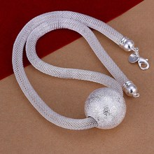 New Listing Hot selling silver plated frosted ball network chain Necklace Fashion trends Jewelry Gifts