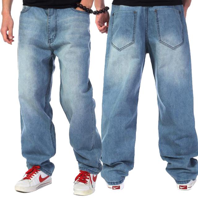 Лето свободного покроя джинсы большие размер 46 джинсы хип-хоп джинсы