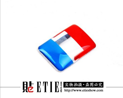 Free Shipping 2015 Top Fashion Car Styling Covers Flag of France Miniature Aluminum Adhesive Steering Wheel Logo Sticker(China (Mainland))