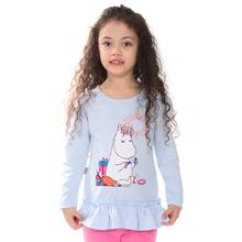 Moomin 2016 spring fashion girls long sleeve T-shirt cartoon tee o-neck girls t shirt kids clothing yellow