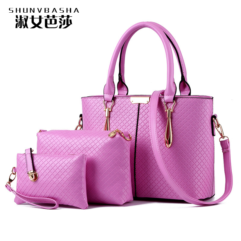 Woman 3 Piece Set New Casual Messager Bags Fashion Lady Purses 2016 Famous Brand Tote Bags Luxury High Quality Designer Handbags(China (Mainland))
