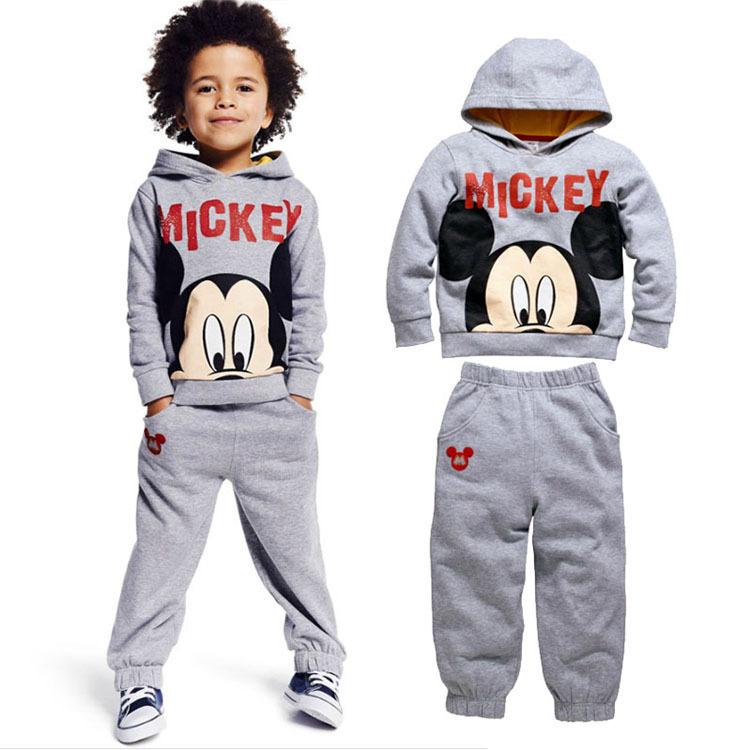 2015 Children Clothing Sets Boys Autumn Cartoon Mickey Sweatshirt +Trousers Suits Kids Casual Hoodies Set Children Clothing Sets(China (Mainland))