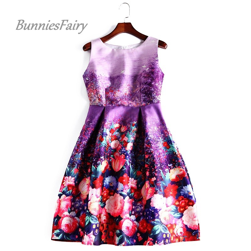 Bunniesfairy 2016 Summer New Vintage Retro Style Romantic Lavender Flower Floral Print High