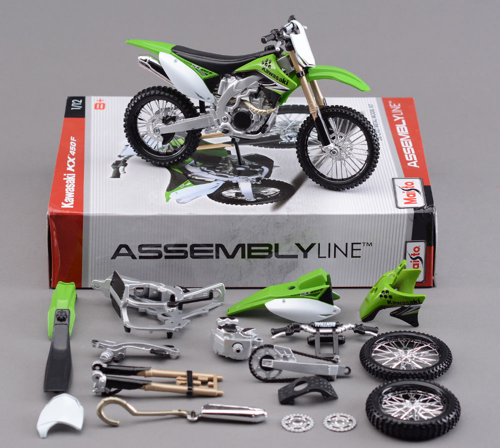 Collectible Moto 1/12 Scale Diecast kawasaki KX450F Model DIY Toys Assembly Motorcycle Motorbike Kit(China (Mainland))