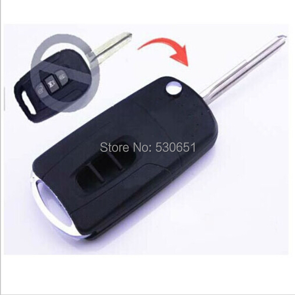 Flip Folding Remote Key Shell Case Chevrolet Captiva 3 Buttons + Uncut blade - Car Electronics Center store