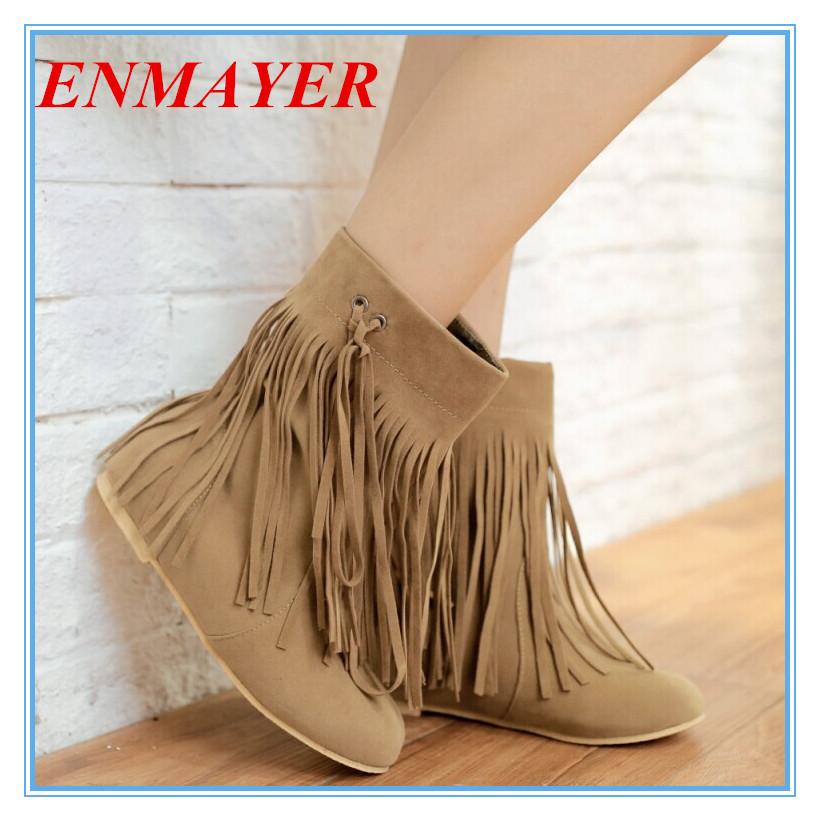 ENMAYER size 34-45 Fashion Sexy Tassel Boots Round Toe Platform Warm Winter Slip On Shoes for Women Design Womens Ankle Boots<br><br>Aliexpress