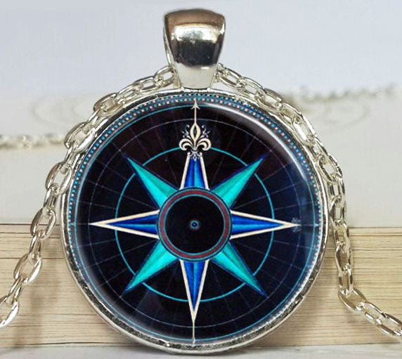 Compass Rose Necklace Nautical Jewelry Navy Blue and Aqua Art Pendant(China (Mainland))