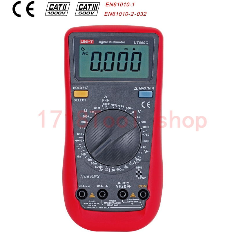 UNI T UT890C True RMS Digital Multimeter with C F Temperature Capacitance Frequency Multi Meter Diode