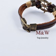 High Quality New 2015 Fashion Jewelry Vintage Stainless Steel Rudder Charm Genuine Cow Leather Bracelet For
