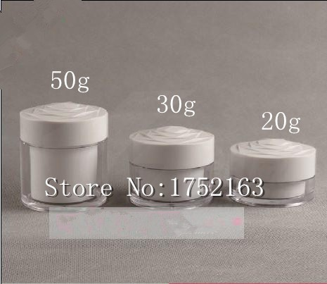 20G double wall white cream bottles Flower-shaped Lid,Cream Jars,Cosmetic Container,Cosmetic Jar 50 PCS/LOT - Mini packing world store