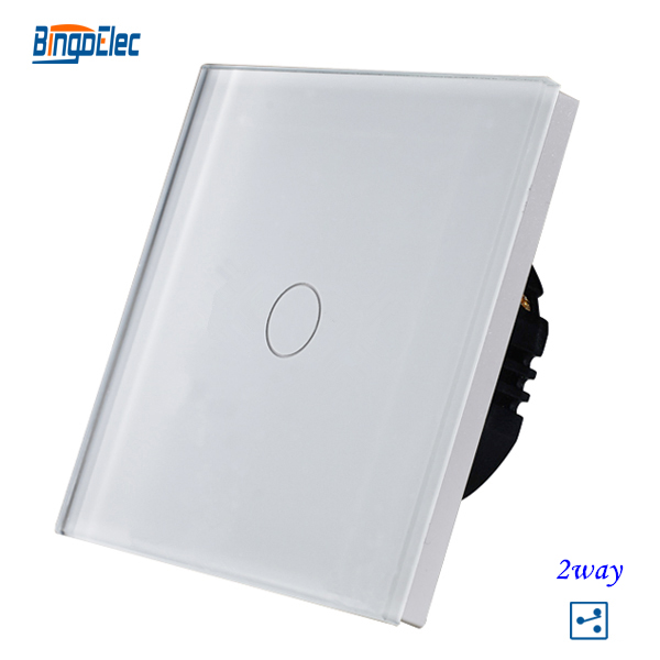 1gang 2way stair switch,white crystal toughened glass panel touch sensor 2way switch EU/UK standard AC110-250V Free shipping(China (Mainland))