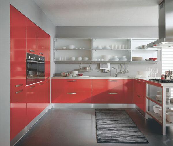 High gloss red kitchen cabinet(China (Mainland))