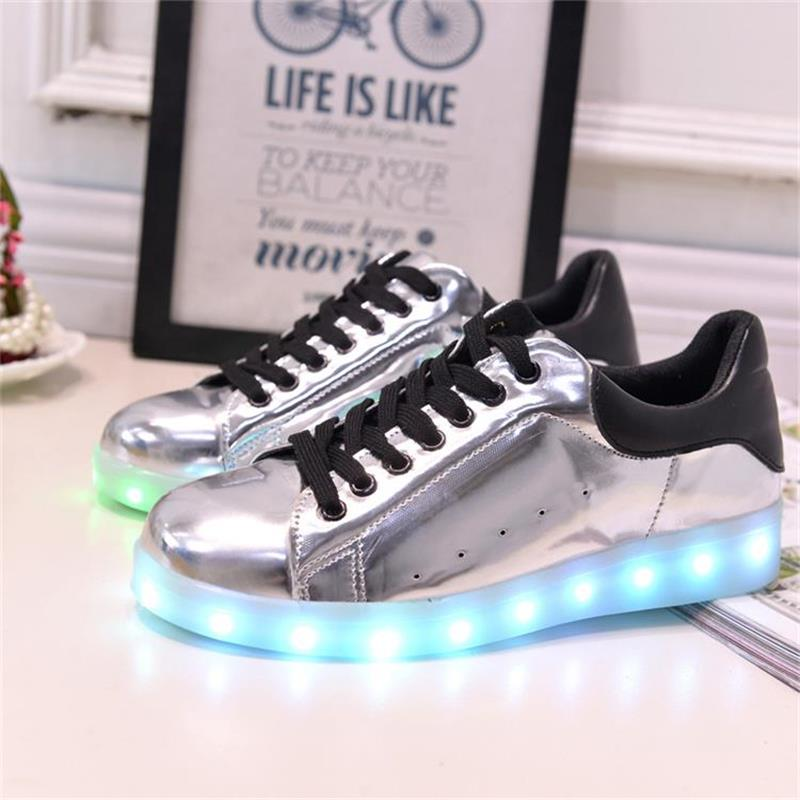 Silver Women Colorful Glowing Shoes With Lights Up Led Luminous Shoes A New Simulation Sole Led Shoes For Adults Neon Basket Led<br><br>Aliexpress