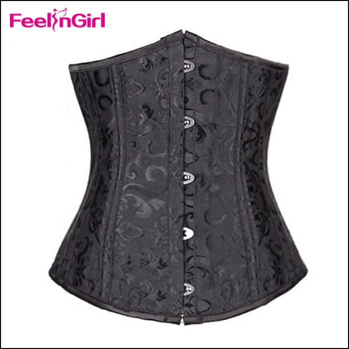 Steel Boned Waist Training Corsets and Bustiers Black Corset Underbust Gothic Corselet Sexy Waist Cincher Plus Size espartilho(China (Mainland))