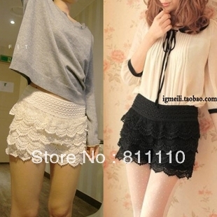 Trend Knitting  summer new Multilayer lace hollow out  Sexy security short mini skirts pants women plus-size retail