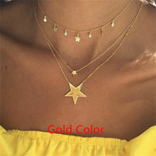 KISSWIFE Bohemian Multi layer Pendant Necklaces For Women Fashion Golden Geometric Charm Chains Necklace Jewelry Wholesale(China)