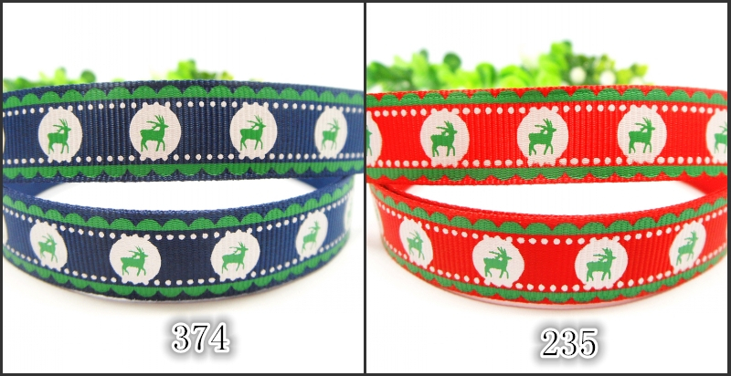"2 Colors in stock 10yards/lot 5/8"" 16mm Merry Christmas deer screen ink printed grosgrain ribbon Festival Decoration(China (Mainland))"