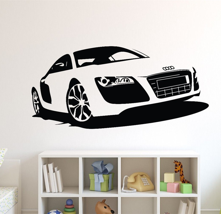 Large car audi sports car wall art decal home decor racing for Cars wall mural sticker