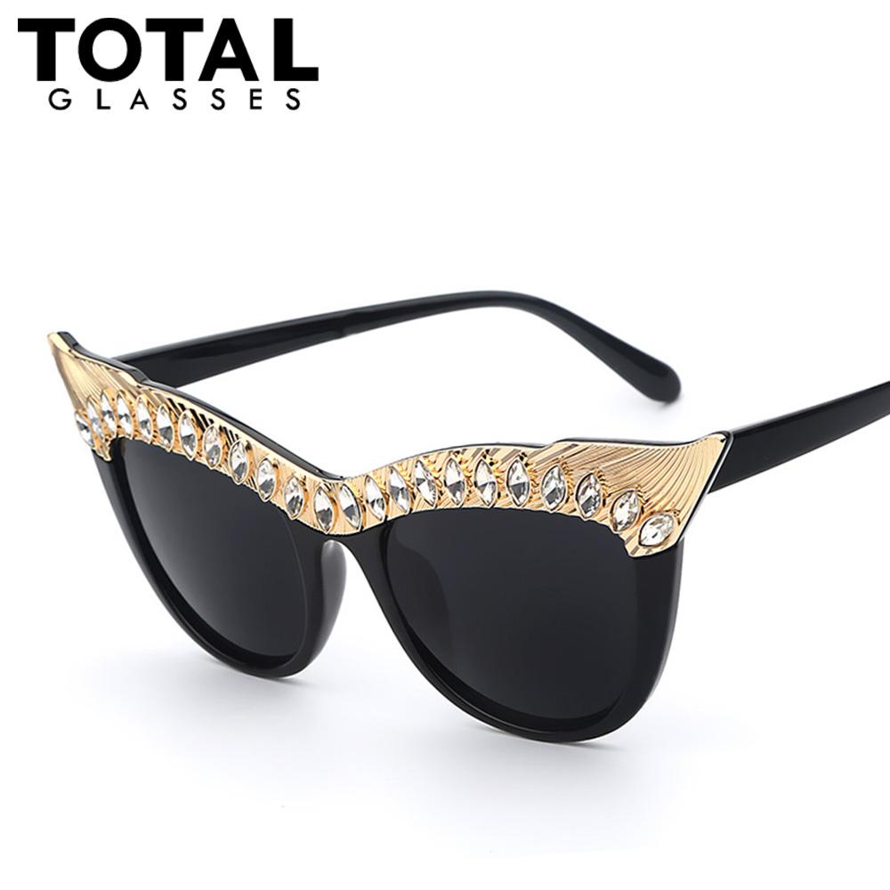 Totalglasses 2016 Crystal Stone Oversized Cat Eye Frame Women Sunglasses Brands Designer Sexy Female Fashion Sunglasses Oculos(China (Mainland))