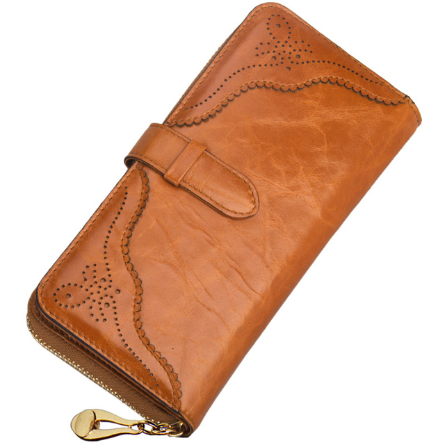 new Women's multi card holder genuine leather wallet Italy style Lady Purse clutch zipper mobile phone bag coin bag wallet gift