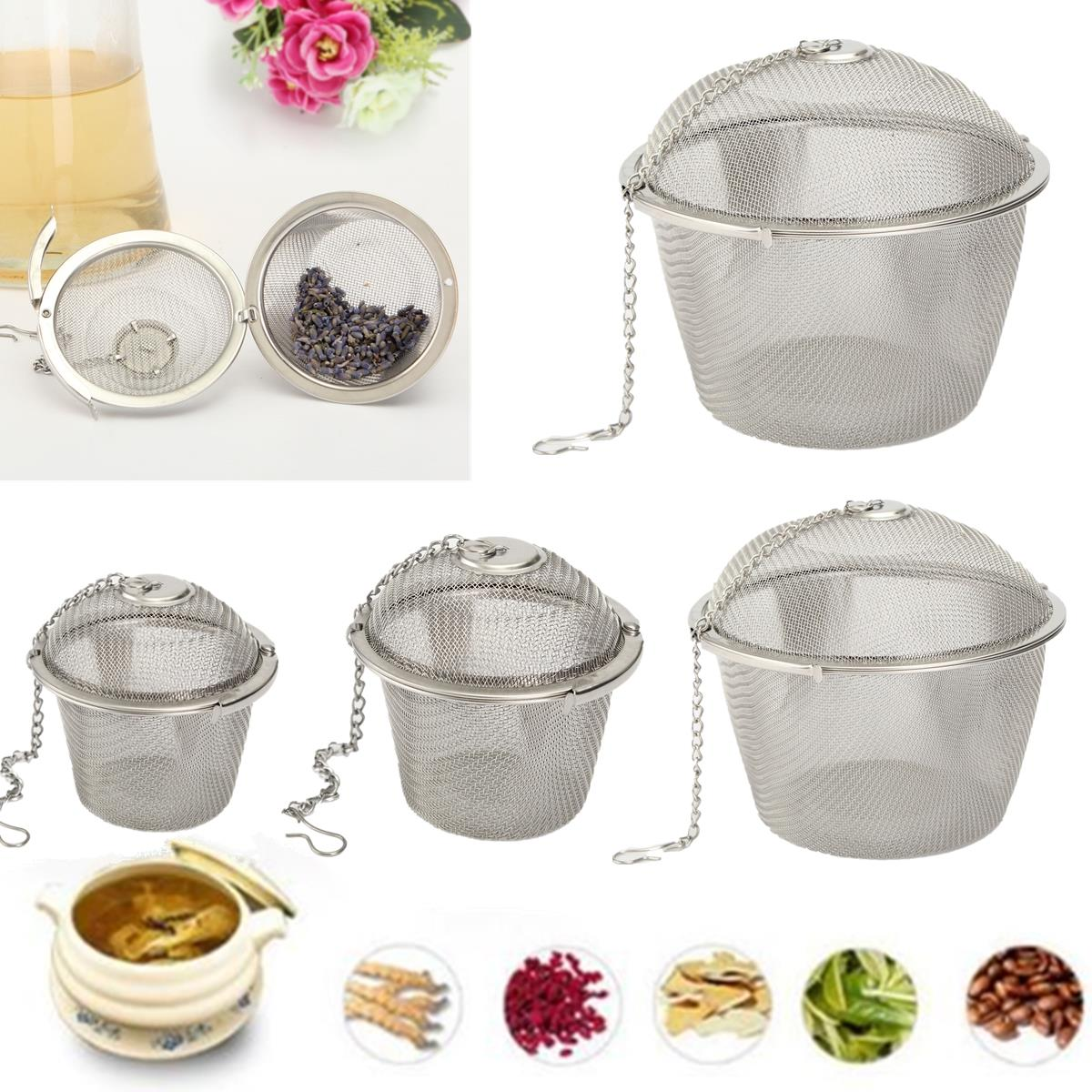 Hot Sale 6.5cm Silver Reusable Stainless Mesh Herbal Ball Tea Spice Strainer Teakettle Locking Tea Filter Infuser Spice M Size(China (Mainland))