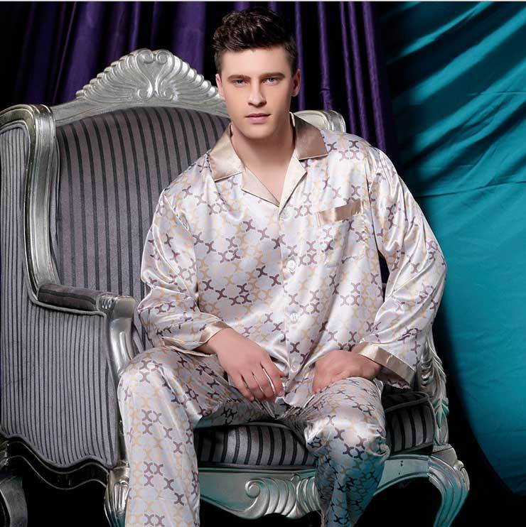 spring autumn pyjama men warm homewear suits new 2015 long sleeve silk pajama sets casual clothing for sleepcoat free shipping(China (Mainland))