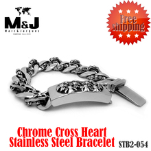 Famous brand cross heart 2015 new sale stainless steel bracelet charms punk rock men jewelry wholesale Fast shipping STB2-054(China (Mainland))