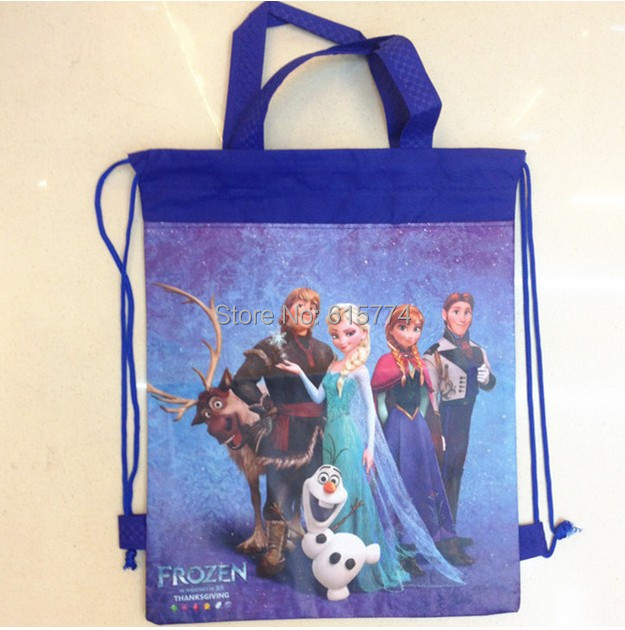 Single face handle cartoon tote Elsa & Anna & Olaf Toys ravel bags backpack school bag shoe 8 kinds of style for your selection(China (Mainland))