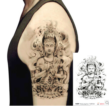tatouages temporaires grand bouddha moiti bras faux transfert tatouage autocollants chaudes. Black Bedroom Furniture Sets. Home Design Ideas