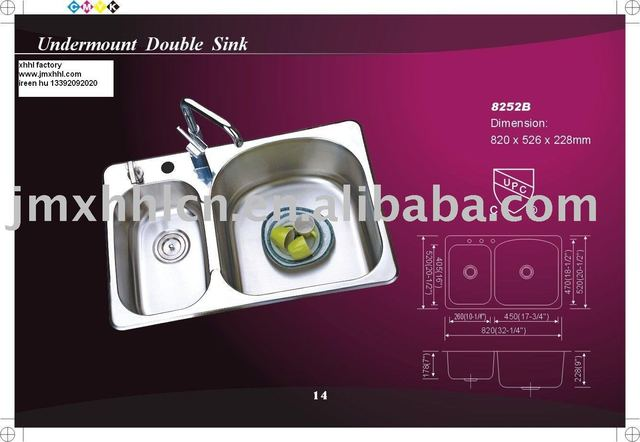cUPC 304 double bowl kitchen stainless steel sink8252B