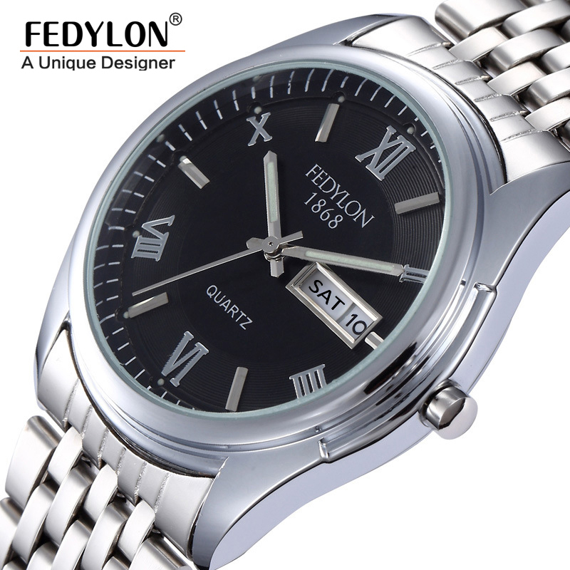 2016 New Arrival Complete Calendar Mens Watches High Quality Stainless Steel Date Day Quartz Wrist Watch For Men Montre Homme<br><br>Aliexpress